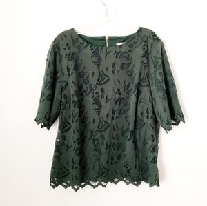 Dress Barn Lace Forest Green Career Blouse Top XL
